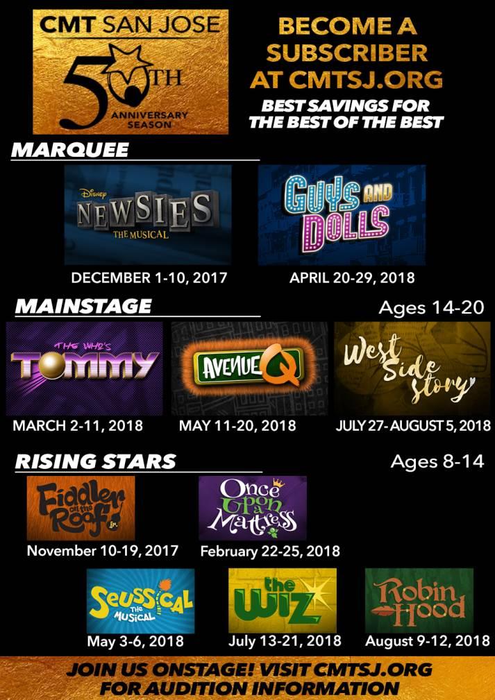 CMT San Jose 50th Season Show Schedule Lineup Announcement